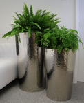 Hammered Stainless Steel Tapered Round Planters